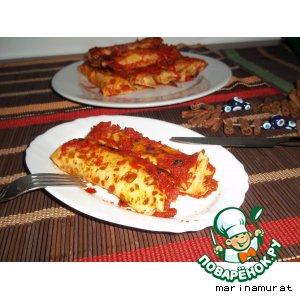 Рецепт Блинчики со шпинатом в томатном соусе