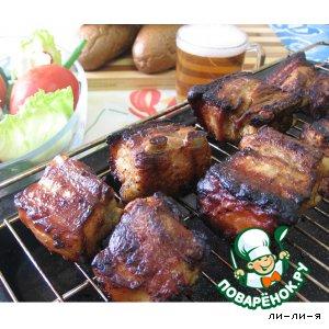 Рецепт: Шашлык из свиных ребер или Пьяное ребро