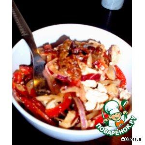 """Рецепт: Пикантный салат """"Закат"""" с вялеными помидорами и сыром тофу"""