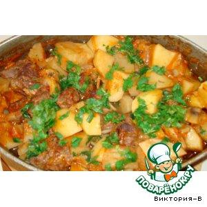 Рецепт: Баранина с картофелем и грибами