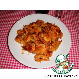 Рецепт: Жареные креветки в красно-белом соусе