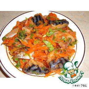 Рецепт: Закуска из скумбрии, с морковью и луком