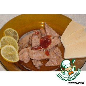 Рецепт: Куриные грудки в клюквенно-медовом соусе