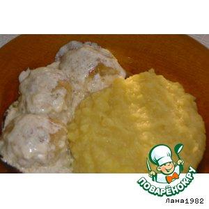 Рецепт: Рыбные «Ежики» в сметанной заливке