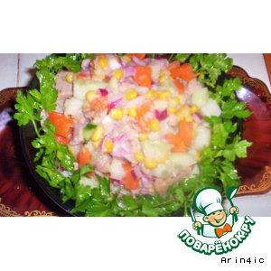 Рецепт: Постный салат из печени трески