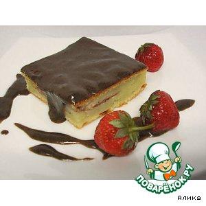 Рецепт: Пирог творожный  с фруктами и шоколадным муссом