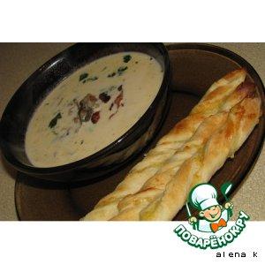 Рецепт: Грибной крем-суп с сырными завитушками
