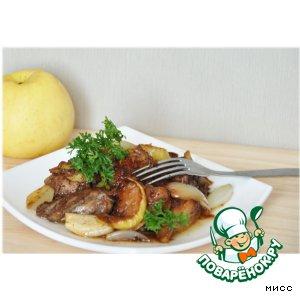 Рецепт: Куриная печень с яблоками
