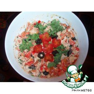 Рецепт: Салат из курицы с запеченными помидорами