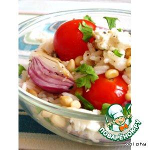 Рецепт Салат из риса с печеными помидорами, брынзой и кедровыми орешками