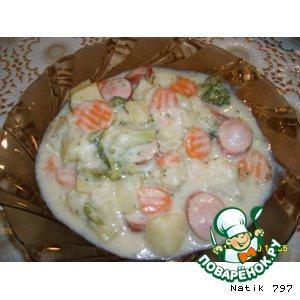 Рецепт: Картофель, тушенный в сливках с овощами