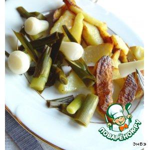 Young garlic in the marinade