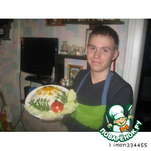 Рецепт: Рыбный салат Сельдь под солнцем