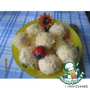 Рецепт: Закуска из сыра с крабовыми палочками Рафаэлло