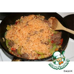 Рецепт: Мясо с рисом и овощами