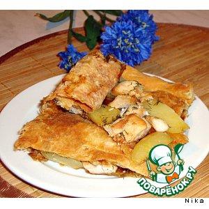Рецепт: Слоеный пирог с куриным филе
