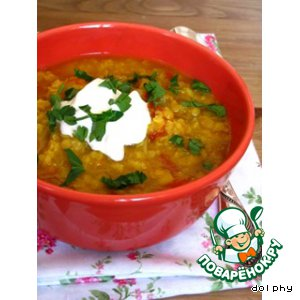 Рецепт: Суп из красной чечевицы с карри
