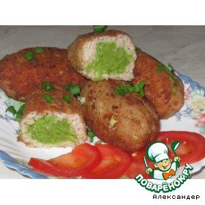 Рецепт: Рыбные зразы с зеленым горошком
