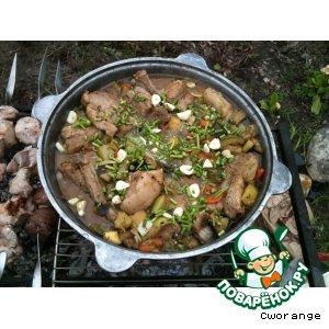 Рецепт: Свиные ребрышки, тушенные с овощами