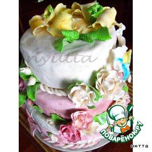 Рецепт: Роскошный Золотистый торт к юбилею свадьбы