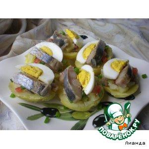 Рецепт: Закуска из запеченного картофеля с сельдью