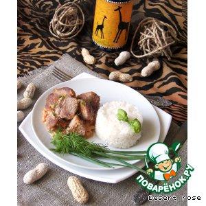 Рецепт: Мясо с арахисовой пастой и овощами Тигадегена