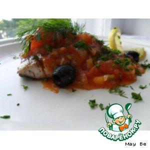 Рецепт: Тунец с томатным гарниром