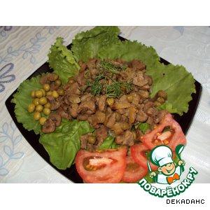 Рецепт: Свиные почки с зелeным горошком
