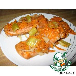 Рецепт Горбуша, запеченная с овощами