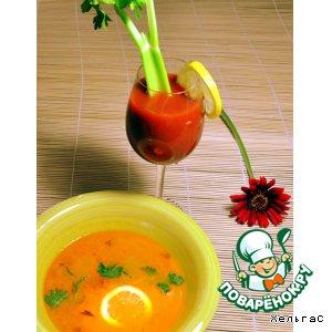 Рецепт: Морковный суп с лимоном и имбирем