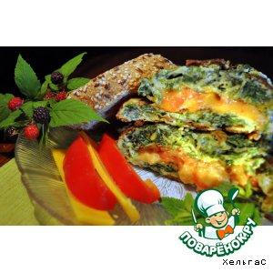Рецепт: Омлет с сыром и шпинатом  для пикника