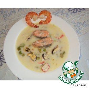 Рецепт: Суп со спаржей и морепродуктами