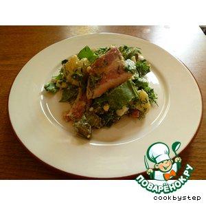 Рецепт: Салат из картофеля с беконом и щавелем