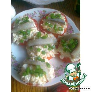 Рецепт: Фаршированные помидоры с сельдью