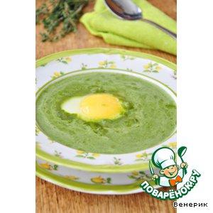 Рецепт: Крем-суп из шпината с яйцом пашот