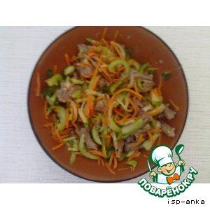 """Рецепт Салат с корейской морковкой и говядиной  """"Экспромт"""""""