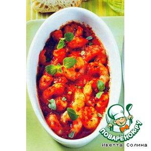 Рецепт: Тигровые креветки запеченные с помидорами