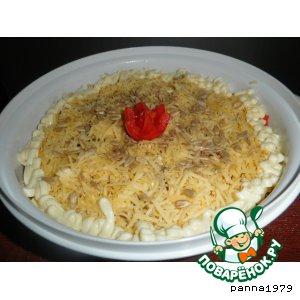 Рецепт: Слоеный салат с баклажанами и семечками