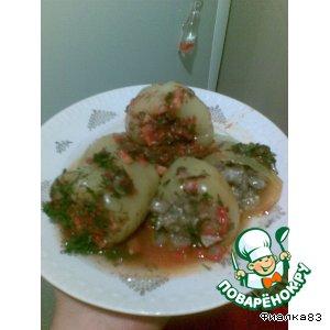 Рецепт: Перец, фаршированный баклажанами