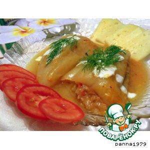 Рецепт: Перец, фаршированный овощным ассорти с рисом