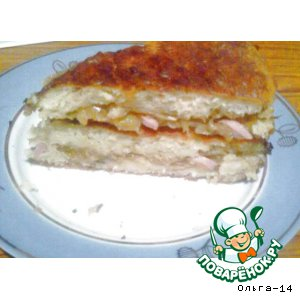 Рецепт: Кабачковый пирог с капустой и сосисками