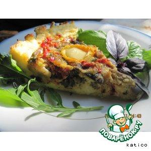 Рецепт: Картофельно-творожный киш с баклажанами, сладким перцем и помидорами
