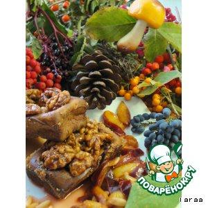 Рецепт: Кексы с карамелизированными грецкими орехами и теплым сливовым салатом