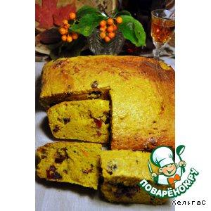 Рецепт: Ароматный хлеб из тыквы с клюквой, апельсином и бренди