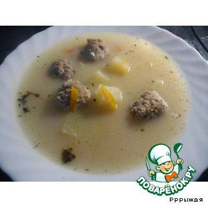 Рецепт Сырно-чесночный суп с фрикадельками