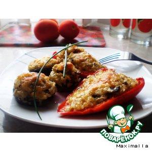 Рецепт: Фаршированные шампиньоны и сладкий перец