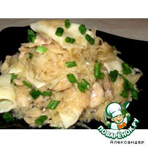 Рецепт: Галушки домашние с капустой и грибами