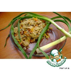 Рецепт: Плов из смеси золотистого и дикого риса в мультиварке