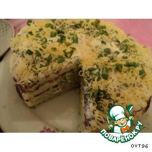 Рецепт: Закусочный торт Слоеный кабачок