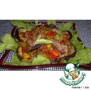 Рецепт Теплый салат из баклажанов с рисом и говядиной